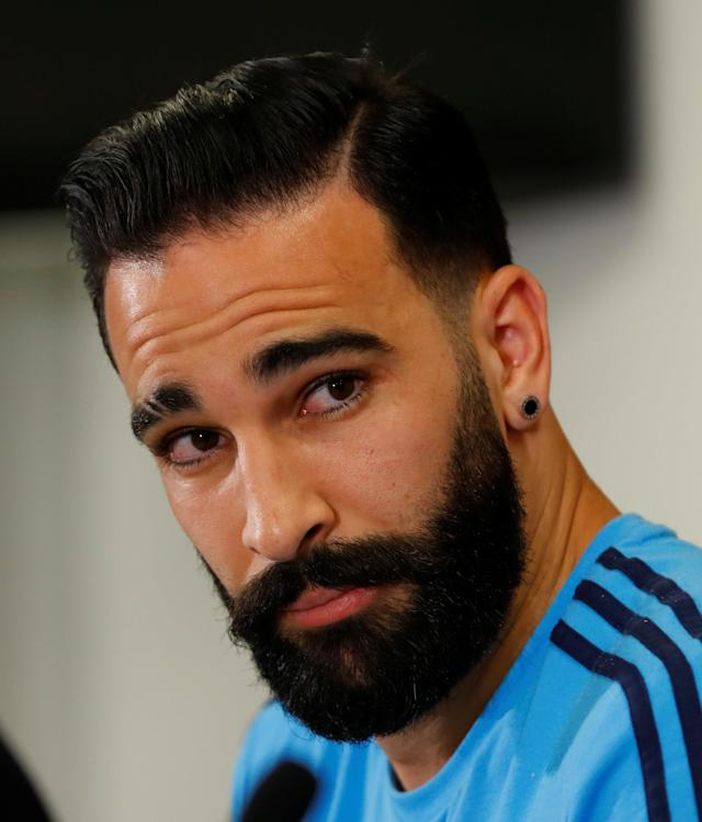 Soccer Football - Europa League - Olympique de Marseille Press Conference - Red Bull Arena, Salzburg, Austria - May 2, 2018. Marseille player Adil Rami during the press conference. REUTERS/Leonhard Foeger