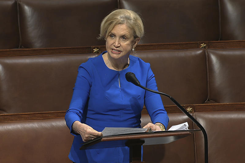 FILE - In this April 23, 2020 file image from video, Rep. Carolyn Maloney, D-N.Y., speaks on the floor of the House of Representatives at the U.S. Capitol in Washington. New York's primary election ended with uncertainty Tuesday night, June 23, 2020, over the outcomes of several of New York congressional races featuring young insurgents. Maloney was neck and neck with challenger Suraj Patel, who ran against her in the 2018 primary. (House Television via AP)