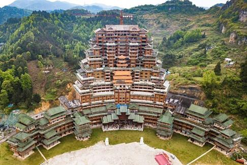The Shuisi Futang Building is a pile dwelling made from fir and pine wood. Photo: Weibo