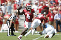 Oklahoma wide receiver Mario Williams (4) throws a pass against Tulane during a NCAA college football game Saturday, Sept. 4, 2021, in Norman, Okla. (AP Photo/Alonzo Adams)