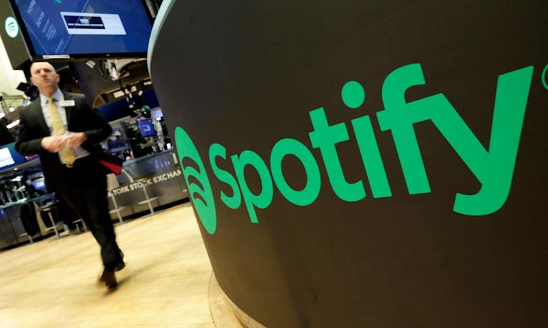 A Spotify logo on the floor of the New York Stock Exchange.