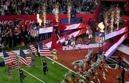 FILE PHOTO: The Atlanta Falcons run on to the field before Super Bowl LI at NRG Stadium in Houston, Texas, U.S., February 5, 2017. Mandatory Credit: Richard Mackson-USA TODAY Sports/File Photo