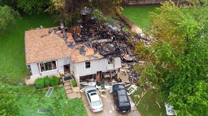 A duplex in the 7500 block of Englewood Avenue in Raytown exploded and caught fire Monday evening, June 28, 2021. Several people were injured, according to police.