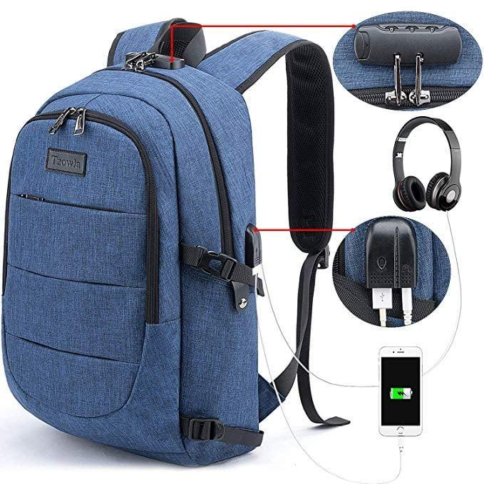 <p>This <span>Tzowla Business Laptop Backpack</span> ($32) has a USB charging port and antitheft lock pad.</p>