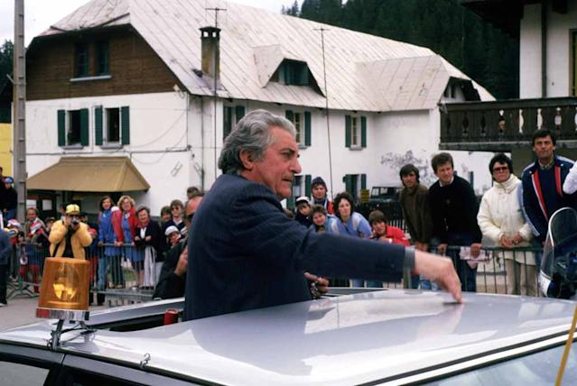 Torriani in the director's car at the 1984 Giro