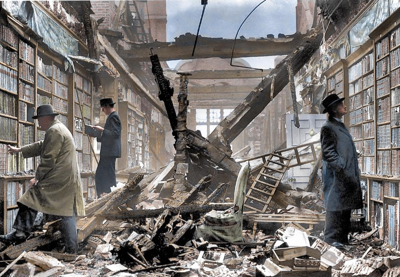 <p>Holland House in Kensington was heavily bombed in September 1940 but somehow the library survived. (Royston Leonard/mediadrumworld.com) </p>