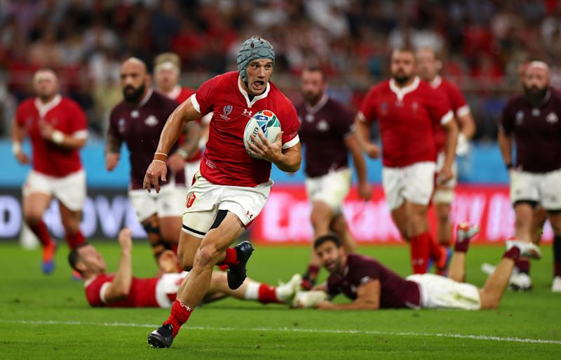 TOYOTA, JAPAN - SEPTEMBER 23: Jonathan Davies of Wales on the charge during the Rugby World Cup 2019 Group D game between Wales and Georgia at City of Toyota Stadium on September 23, 2019 in Toyota, Aichi, Japan. (Photo by Francois Nel - World Rugby/World Rugby via Getty Images)