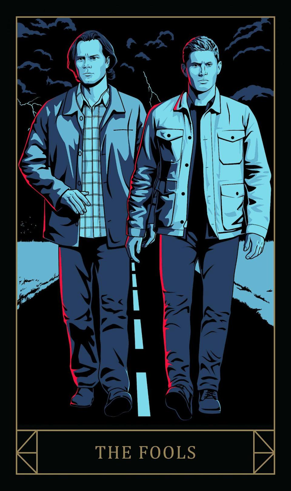 Sam and Dean Winchester on the Supernatural Fools tarot card