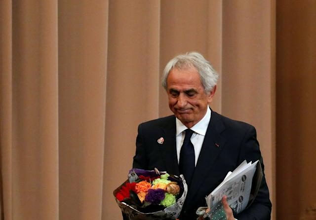 Vahid Halilhodzic, who was fired from his position as Japan national soccer team head coach, leaves a news conference at the Japan National Press Club in Tokyo, Japan, April 27, 2018. REUTERS/Toru Hanai