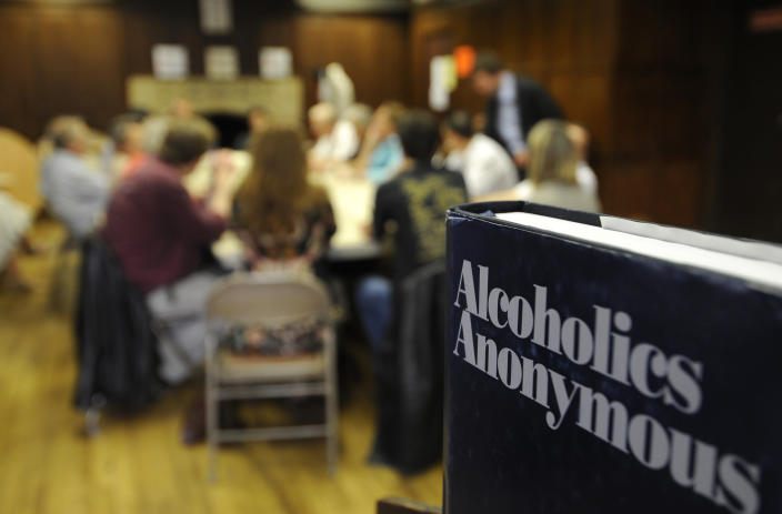 """Alcoholics Anonymous celebrates its 75th anniversary. Also known as AA it was founded by Bill Wilson and Dr Bob Smith in June 1935 in Akron Ohio. It has become a worldwide movement spread out with over 100,000 groups with 2 million members in 150 countries. The two books primarily used are called Alcoholics Anonymous (the """"Big Book """") and Twelve Steps and Twelve Traditions, explaining AA""""s fundamental principles. Meetings are informal such as the one started in Paris in 1960 at the American Church at 65 quai dÕOrsay for English speakers such as the US military which led to the first French speaking group 50 years ago in the same room (photo). The WHO estimates that over 140 million people globally are affected by alcoholism. The International AA Convention will be held July 1-4, 2010 in San Antonio,Texas. (Photo by John van Hasselt/Corbis via Getty Images)"""