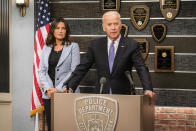 """<p><b>Where We Left Off:</b> The squad was left reeling after the tragic death of Sgt. Mike Dodds (Andy Karl). Olivia Benson (Mariska Hargitay) received a romantic request to go to Paris with her boyfriend Tucker (Robert John Burke). <br><br><b>Coming Up: </b> Dodd's death will continue to hang over the squad members. """"The death of Andy Carl, or Sgt. Dodd is really looming in the squad room in the first episode,"""" says Peter Scanavino, who plays Det. Dominick Carisi, Jr. """"You see a surprise thing about who is going to step up"""" as Sergeant, teases Kelli Giddish, who plays Det. Amanda Rollins. As for the premiere, it's heavy on the action. """"It begins with a hit and run in the park,"""" Giddish says. """"And we find out this kid is totally alone and we find something in his backpack. Benson is put into this compromised situation."""" <br><br><b>Veep Stakes: </b> Vice President Joe Biden makes a cameo in the second episode in a storyline about clearing the rape kit backlog. It's a cause he's championed before; he was honored by Hargitay's foundation, Joyful Hearts, which empowers survivors of sexual assault, domestic violence, and child abuse. """"He's very charismatic and he was very happy to be here,"""" Giddish says. The cast was starstruck by the VP and took photos with him. """"I sent them to my parents, and they thought it was fake!"""" Scanavino reports, laughing. <i>– KW</i> <br><br>(Credit: Michael Parmelee/NBC)</p>"""