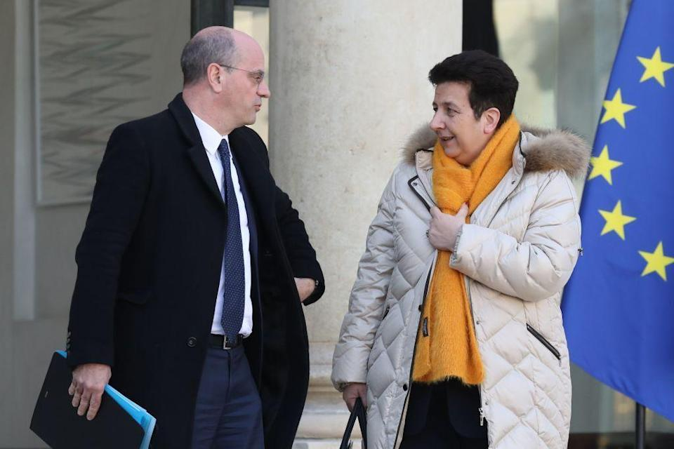 Frédérique Vidal et Jean-Michel Blanquer à la sortie de l'Elysée en février 2018 (photo d'archives) (Photo: LUDOVIC MARIN/AFP via Getty Images)
