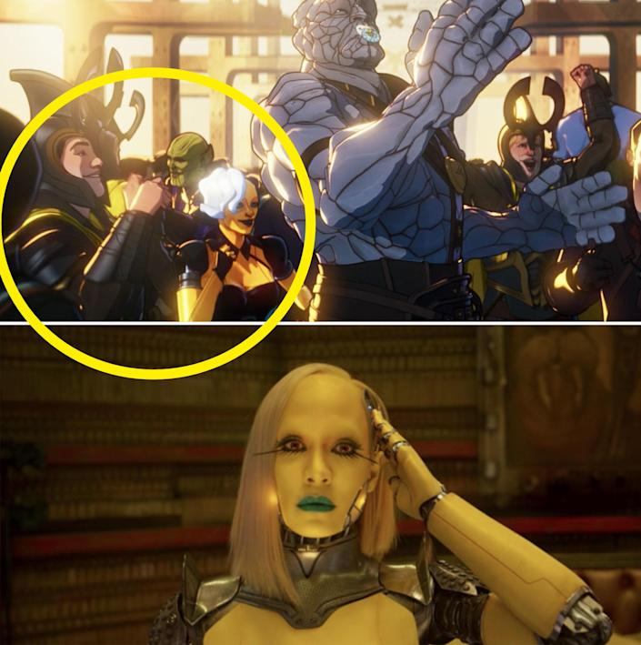 A close-up of a Skurll, Asgardian guard, and a Love Bot standing next to Korg