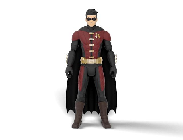 "<p>The classic version of Robin — as oppoosed to his John Blake plainclothes look from <em>The Dark Knight Rises</em> — also gets in on the ""Battle in a Box"" action. (Photo: Mattel/Warner Bros.) </p>"