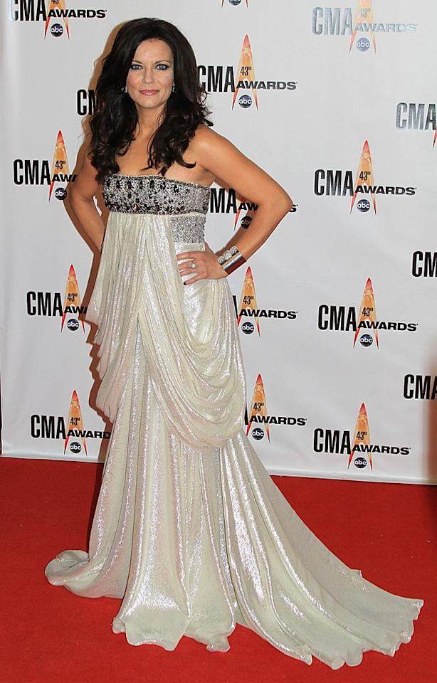 "Martina McBride  Grade: D+  The Female Vocalist of the Year nominee failed to impress in a bejeweled curtain-like catastrophe and tired tresses. Taylor Hill/<a href=""http://www.wireimage.com"" target=""new"">WireImage.com</a> - November 11, 2009"