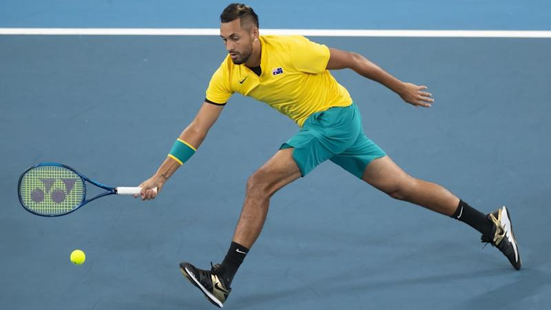 Nick Kyrgios showed off an array of shots in his comfortable ATP Cup win over Cameron Norrie