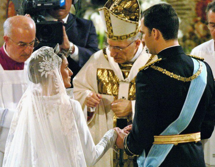 Felipe and Letizia married in a grand cathedral in Madrid in 2004. (Photo: Getty)