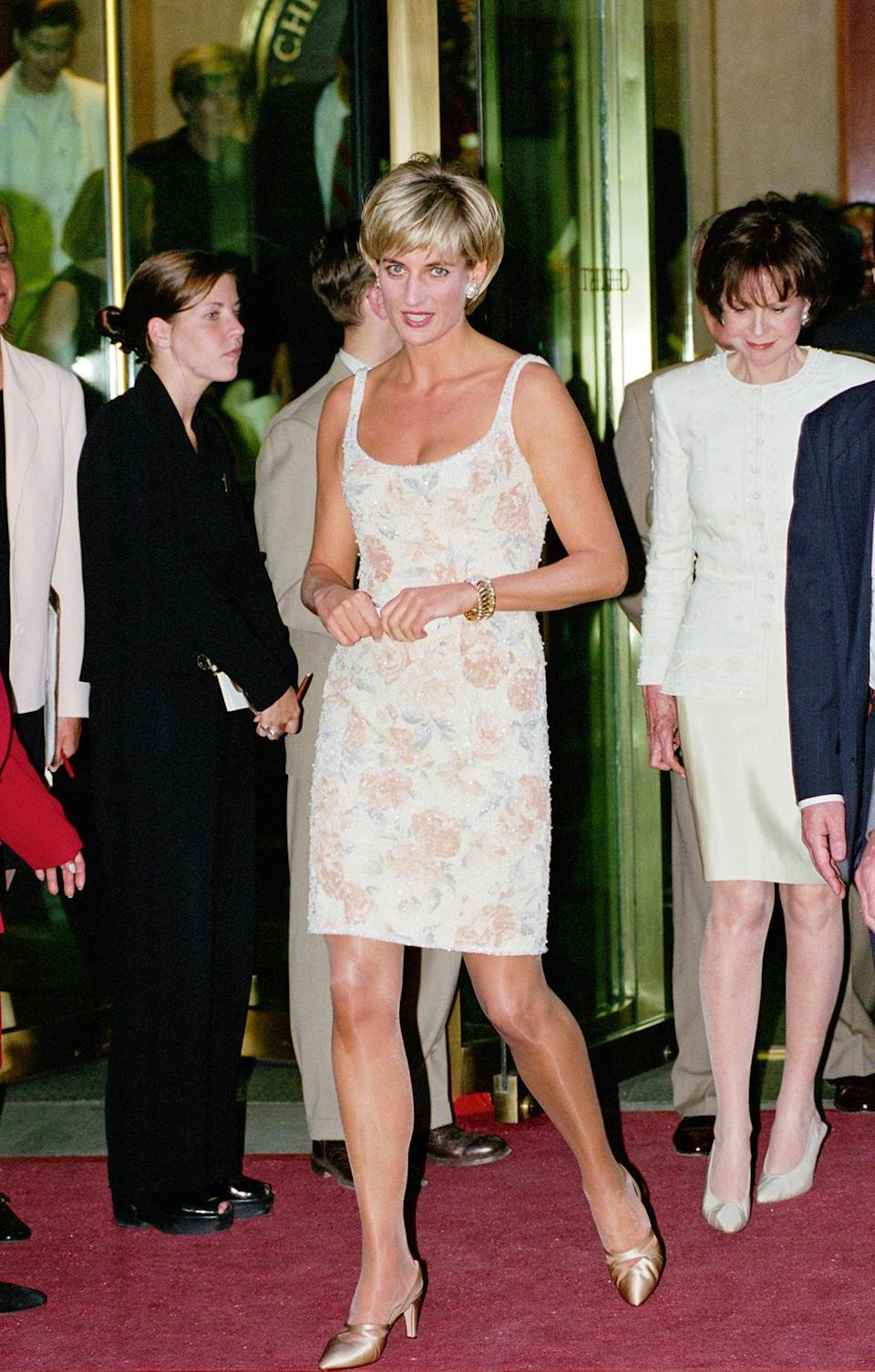 """<p>In June 1997, months before her tragic death, Diana auctioned a selection of her dresses at famed auction house Christie's in New York City. Proceeds benefitted the Royal Marsden Hospital Cancer Fund and the AIDS Crisis Trust, for <a href=""""https://www.nytimes.com/1997/06/26/nyregion/diana-cleans-out-her-closet-and-charities-just-clean-up.html"""" rel=""""nofollow noopener"""" target=""""_blank"""" data-ylk=""""slk:which the auction raised a reported $3.25 million"""" class=""""link rapid-noclick-resp"""">which the auction raised a reported $3.25 million</a>. </p>"""