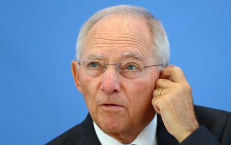 German Finance Minister Schaeuble attends a news conference in Berlin
