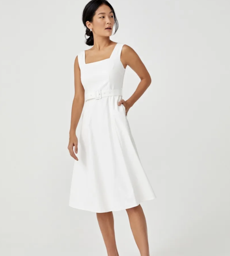 Edrei belted square neck midi dress, S$51.90. PHOTO: Love, Bonito