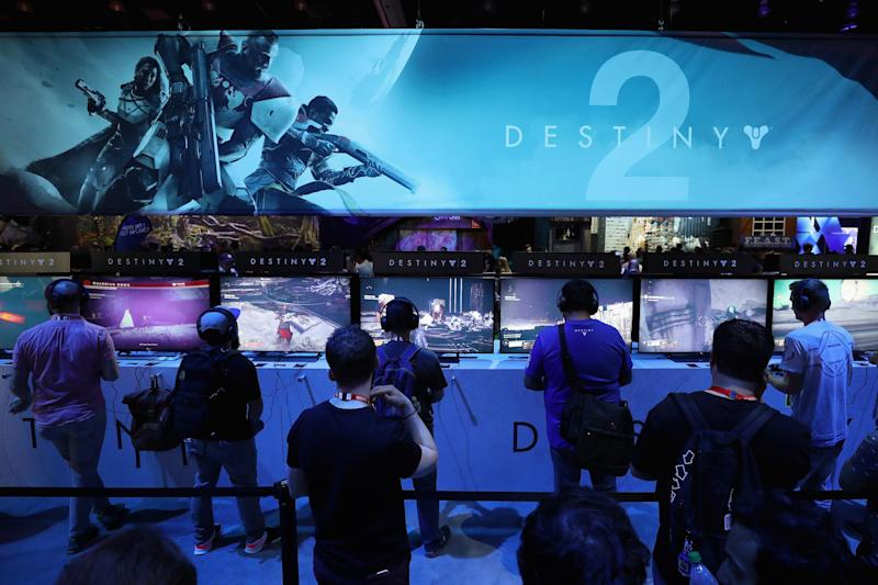 Gamers test 'Destiny 2' at the Sony PlayStation exhibit during the Electronic Entertainment Expo E3 at the Los Angeles Convention Center on June 13, 2017: Christian Petersen/Getty Images