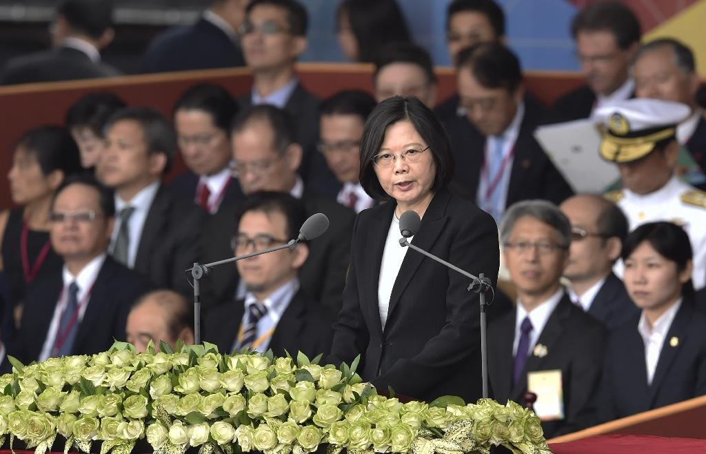 Taiwan President Tsai Ing-wen has seen her popularity plummet as her Democratic Progressive Party government attempts to tackle a raft of domestic issues from gay marriage to pension reform (AFP Photo/SAM YEH)