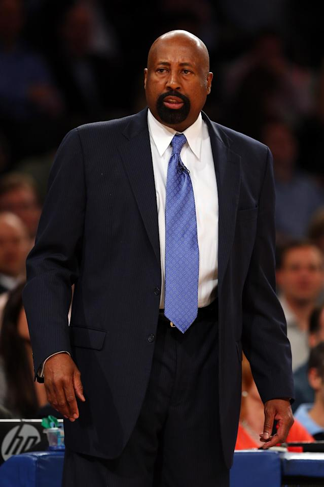 NEW YORK, NY - MAY 16: Head Coach Mike Woodson of the New York Knicks looks on against the Indiana Pacers during Game Five of the Eastern Conference Semifinals of the 2013 NBA Playoffs at Madison Square Garden on May 16, 2013 in New York City. (Photo by Elsa/Getty Images)
