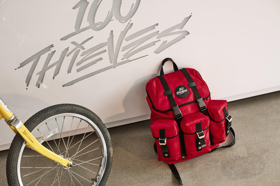 The 100 Thieves x Gucci backpacks are created from sustainable materials.