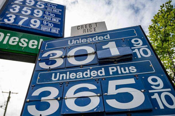 PHOTO: A sign shows the gas prices at a station in Annapolis, Md., May 12, 2021. (Jim Watson/AFP via Getty Images)