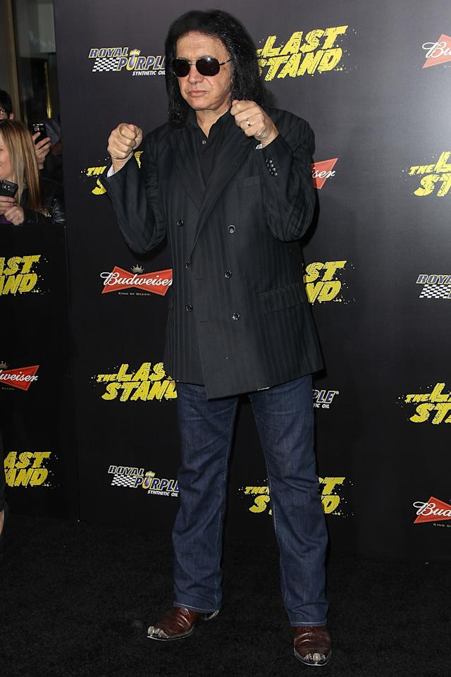 "HOLLYWOOD, CA - JANUARY 14: Recording artist Gene Simmons arrives at the premiere of Lionsgate Films' ""The Last Stand"" held at Grauman's Chinese Theatre on January 14, 2013 in Hollywood, California.  (Photo by Paul A. Hebert/Getty Images)"