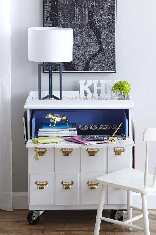 """<p>This transformation requires some serious handy work. By making it fold out, the top drawer becomes the main surface for a desk. This blogger was even crafty enough to add her initials.</p><p>See more at <a href=""""https://inmyownstyle.com/hacked-ikea-dresser-makeover-into-a-rolling-desk.html"""" rel=""""nofollow noopener"""" target=""""_blank"""" data-ylk=""""slk:In My Own Style"""" class=""""link rapid-noclick-resp"""">In My Own Style</a>.</p><p><em><em><em><a class=""""link rapid-noclick-resp"""" href=""""http://www.amazon.com/LGEGE-Bronze-Drawer-Cabinet-Handle/dp/B01MEH2C3Z?tag=syn-yahoo-20&ascsubtag=%5Bartid%7C2089.g.29514474%5Bsrc%7Cyahoo-us"""" rel=""""nofollow noopener"""" target=""""_blank"""" data-ylk=""""slk:BUY NOW"""">BUY NOW</a> </em></em><strong>Label Pulls, $30, <span class=""""redactor-unlink"""">amazon.com</span></strong></em></p>"""