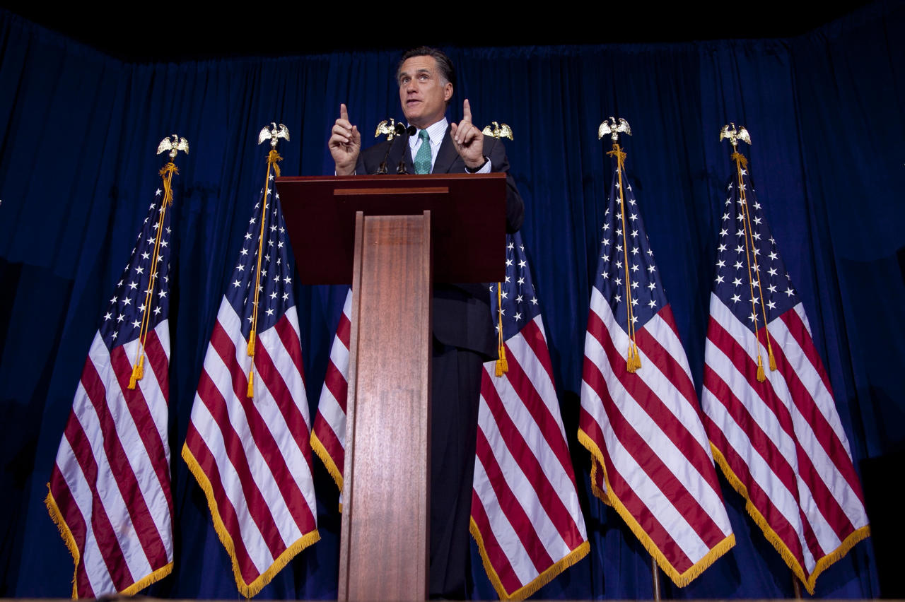 Republican presidential candidate, former Massachusetts Gov. Mitt Romney speaks at the University of Chicago, Monday, March 19, 2012, in Chicago. (AP Photo/Steven Senne)