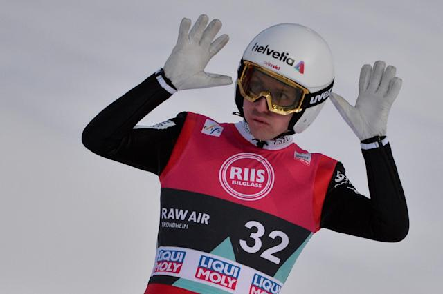 Ski Jumping - FIS World Cup - Men's Large Hill - Granaasen, Trondheim, Norway - March 15, 2018 - Simon Ammann of Switzerland in action. NTB Scanpix/Ned Alley via REUTERS ATTENTION EDITORS - THIS IMAGE WAS PROVIDED BY A THIRD PARTY. NORWAY OUT. NO COMMERCIAL OR EDITORIAL SALES IN NORWAY.