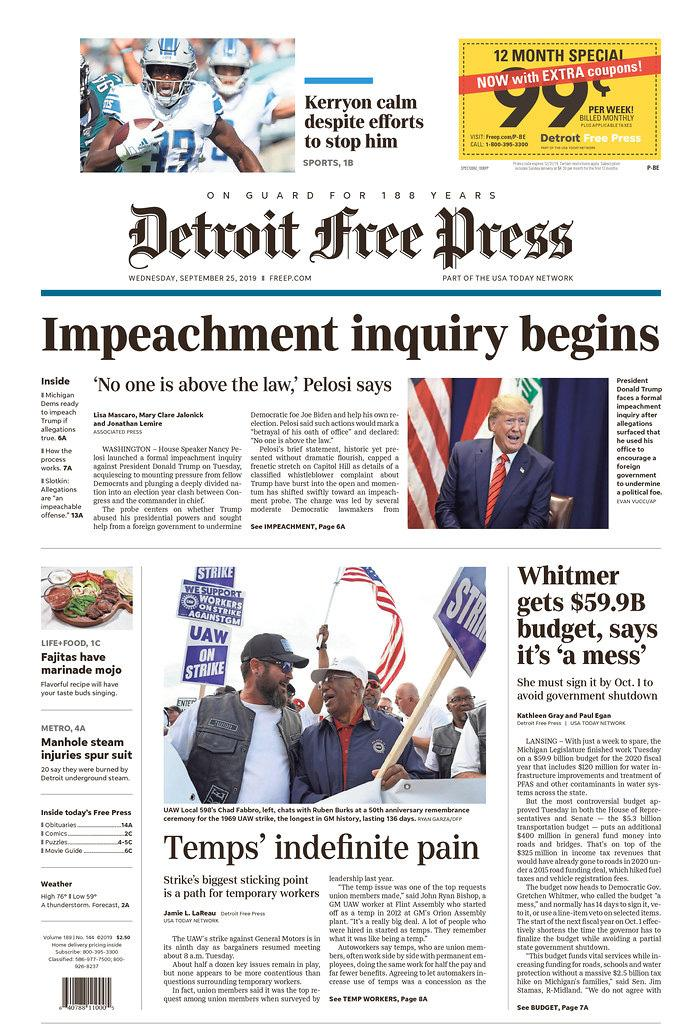 Impeachment inquiry begins Detroit Free Press Published in Detroit, Mich. USA. (newseum.org)