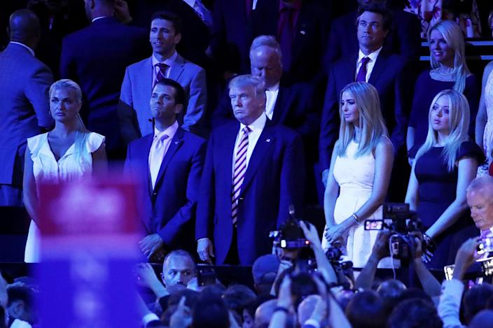 From left to right in foreground, Vanessa Trump, Donald Trump Jr., Republican presidential candidate Donald Trump, Ivanka Trump and Tiffany Trump stand as they listen to Sen. Ted Cruz, R-Texas, speak on the third day of the Republican National Convention on July 20, 2016, at the Quicken Loans Arena in Cleveland, Ohio. (Photo: Win McNamee/Getty Images)
