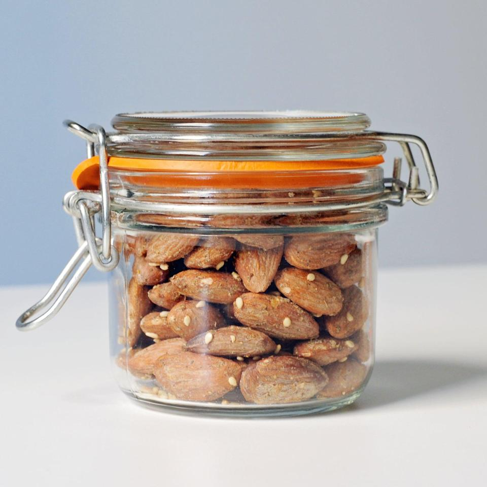 """<p>Since every calorie counts, make sure you are stocking up on filling foods like almonds and oatmeal, as well as soybeans and sweet potatoes. Don't fear the MUFAs either; <a href=""""https://www.popsugar.com/fitness/Good-Fats-37061006"""" class=""""link rapid-noclick-resp"""" rel=""""nofollow noopener"""" target=""""_blank"""" data-ylk=""""slk:monounsaturated fatty acids are a good type of fat"""">monounsaturated fatty acids are a good type of fat</a> that may help you keep weight down, so make sure to add avocado and nuts like almonds to your daily diet. </p>"""