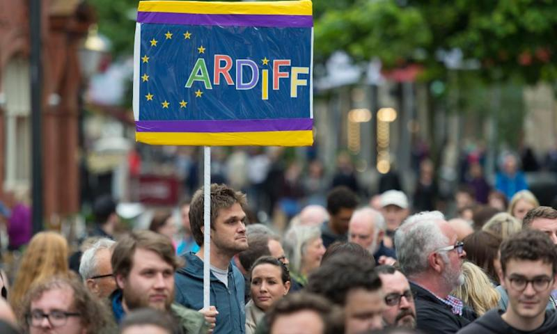 Protestors during an anti-Brexit rally in Cardiff, Wales. 854,572 (52.5%) voters in Wales chose to leave the EU, compared with 772,347 (47.5%) supporting Remain.