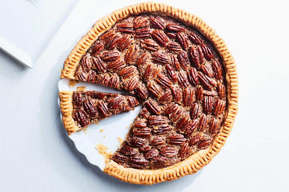 """The best pecan pie recipe is really loaded with nuts, and isn't overly sweet—exactly like the one here. It gets a little extra verve from fresh orange zest. <a href=""""https://www.epicurious.com/recipes/food/views/old-fashioned-pecan-pie-356072?mbid=synd_yahoo_rss"""" rel=""""nofollow noopener"""" target=""""_blank"""" data-ylk=""""slk:See recipe."""" class=""""link rapid-noclick-resp"""">See recipe.</a>"""