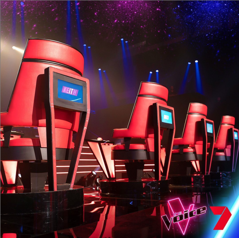Chairs at the ready for The Voice Australia blind auditions. Photo: 7 Network/ Instagram@thevoiceau
