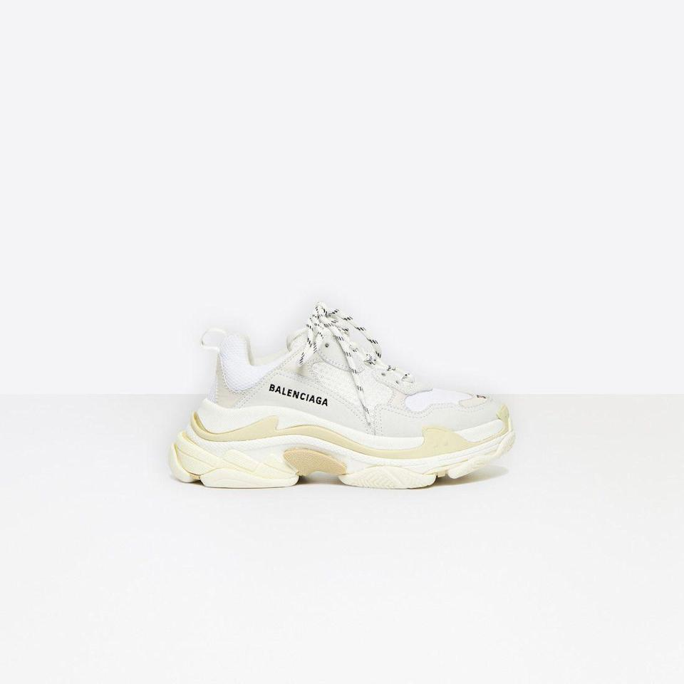 """<p><strong>Balenciaga</strong></p><p>balenciaga.com</p><p><strong>$34.39</strong></p><p><a href=""""https://go.redirectingat.com?id=74968X1596630&url=https%3A%2F%2Fwww.balenciaga.com%2Fus%2Ftriple-s-shoes_cod11534924je.html%23%2Fus%2Fwomen%2Ftriple-s-women&sref=https%3A%2F%2Fwww.marieclaire.com%2Ffashion%2Fg32185174%2Fugly-shoes%2F"""" rel=""""nofollow noopener"""" target=""""_blank"""" data-ylk=""""slk:Shop Now"""" class=""""link rapid-noclick-resp"""">Shop Now</a></p><p>Some might call these the """"Granddaddy"""" of all Dad Sneakers, the Balenciaga Triple S (named for the 3 soles layered on top of one another), is fashion's ultimate answer to this '90s style.</p>"""