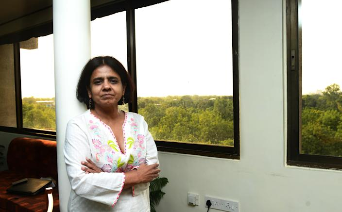 NEW DELHI, INDIA - JUNE 6: (EDITOR NOTE: This is an exclusive shoot of Mint) Sunita Narain of Centre for Science and Environment poses during an exclusive interview in his office on June 6, 2014 in New Delhi, India. (Photo by Ramesh Pathania/Mint via Getty Images)