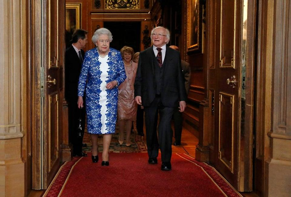 Queen Elizabeth II and Ireland's President Michael D Higgins at a reception at Windsor Castle (Luke MacGregor/PA) (PA Archive)