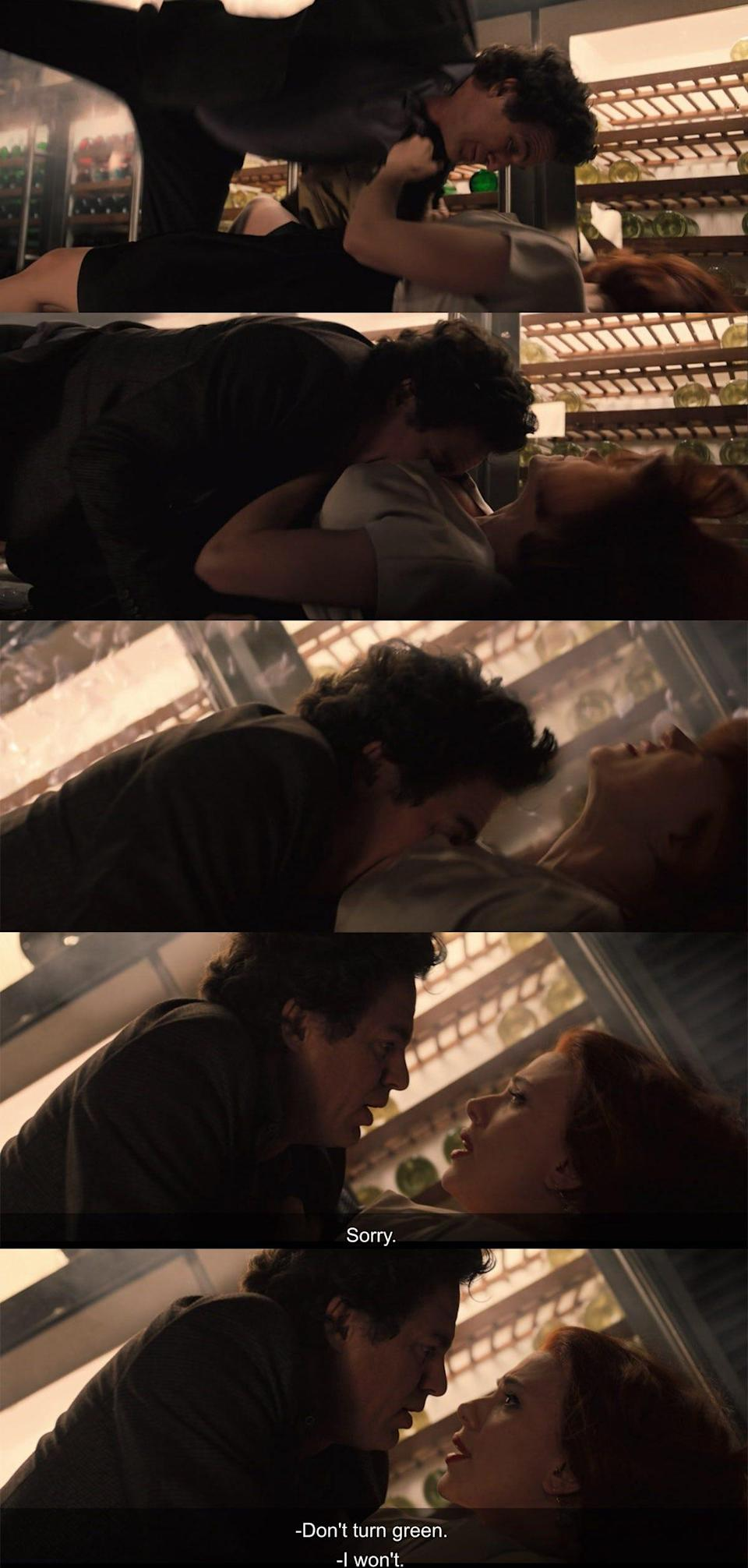 """Bruce Banner falls onto Black Widow in """"Avengers: Age of Ultron."""""""