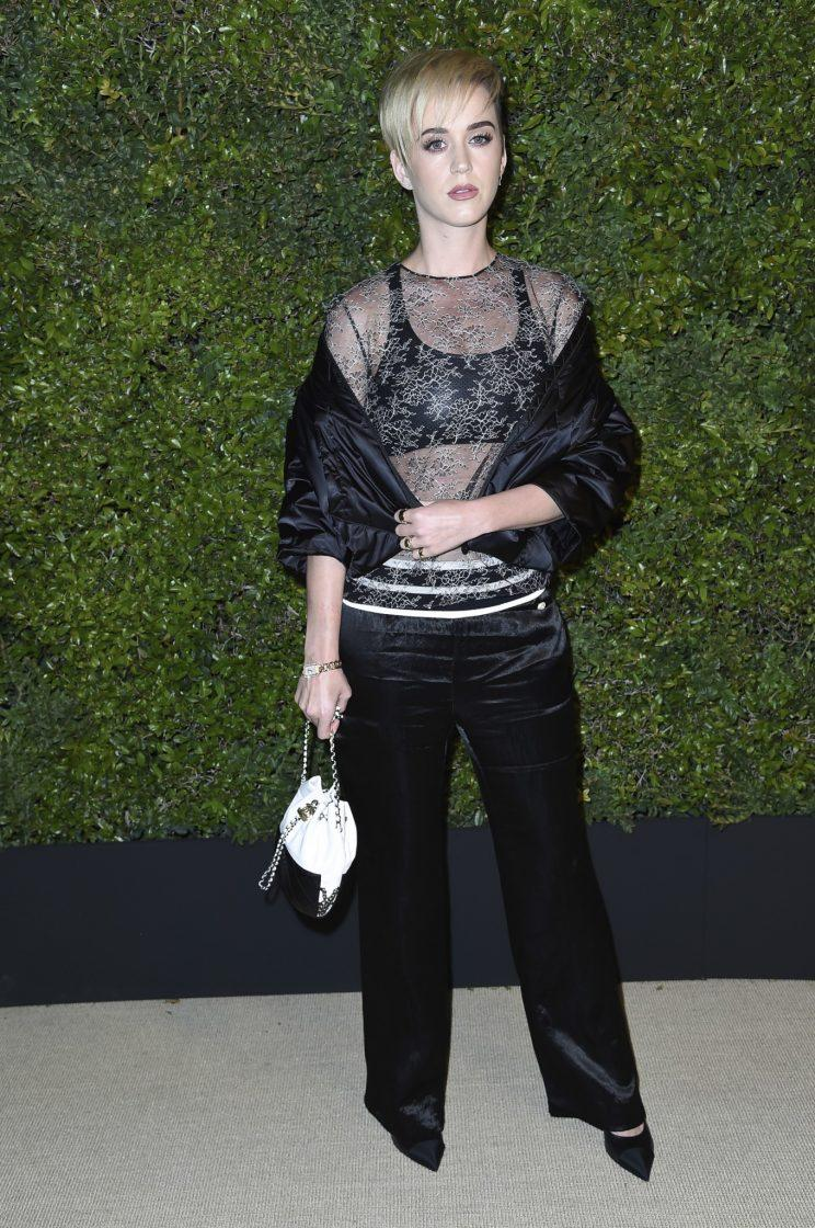 Katy Perry attends the Chanel Dinner to Celebrate Gabrielle Bag at Giorgio Baldi on Thursday, April 6, 2017, in Santa Monica, Calif. (Photo: Richard Shotwell/Invision/AP)