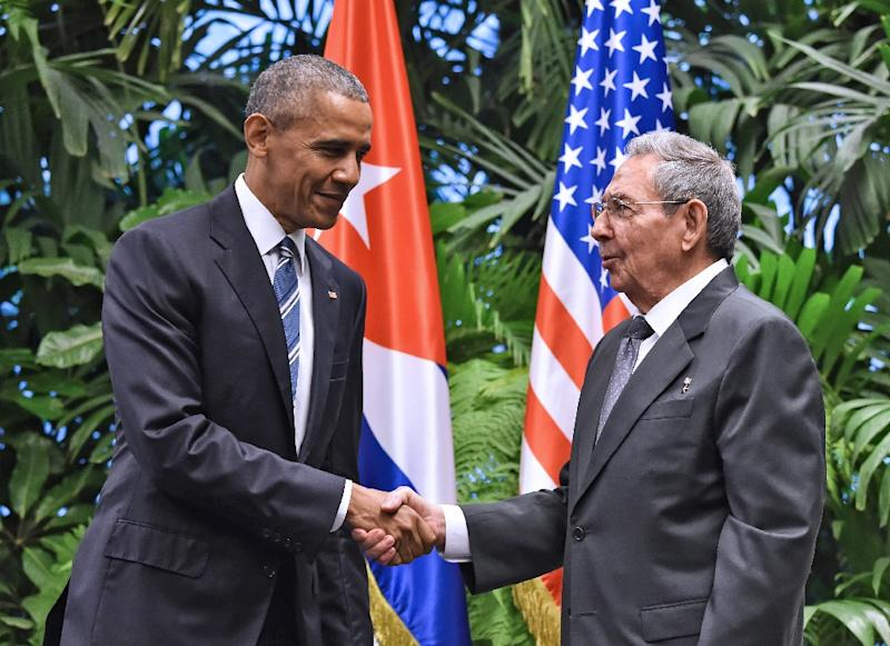 The export is a key step in the gradual normalizing of ties that US President Barack Obama and Cuban President Raul Castro, seen together in March 2016, launched in late 2014 (AFP Photo/NICHOLAS KAMM)