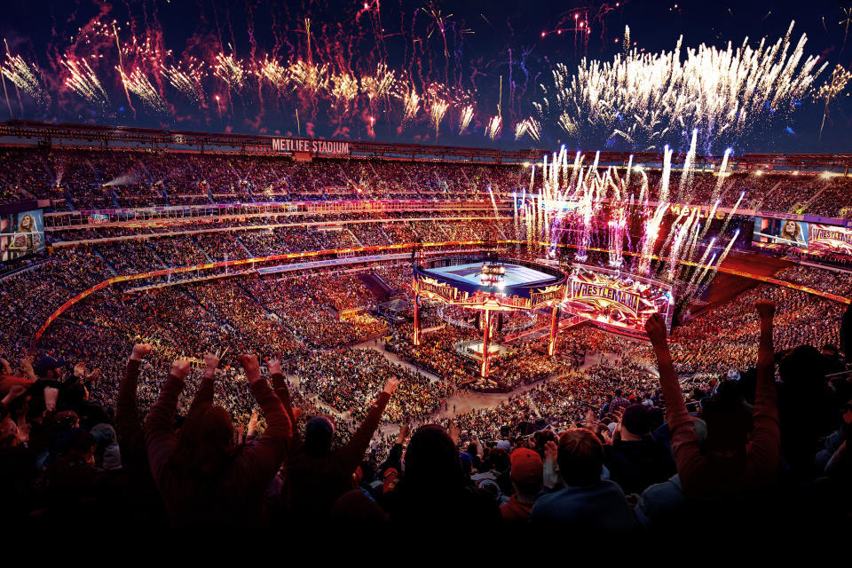 Fireworks are displayed at WrestleMania 35 at MetLife Stadium in East Rutherford, NJ.  (Photo credit: WWE)