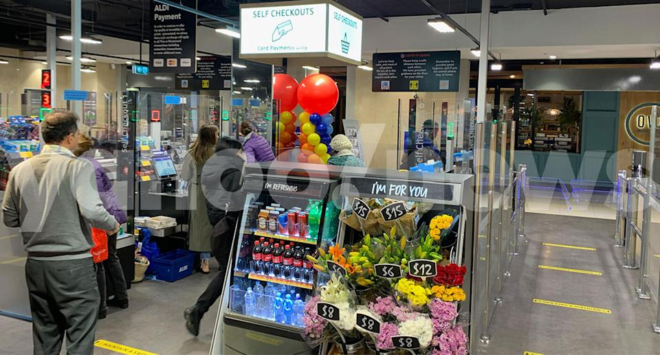 Aldi in Darlinghurst in Sydney is seen with self-service checkouts.