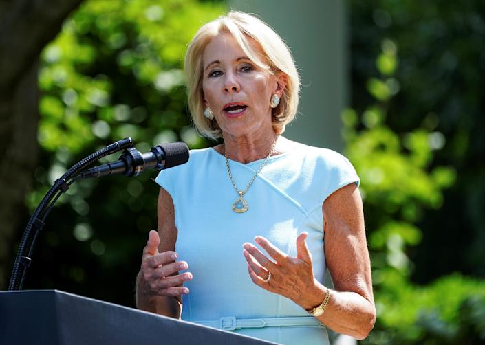 Education Secretary Betsy DeVos in the Rose Garden at the White House on July 9. (Kevin Lamarque/Reuters)