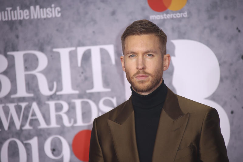 Musician Calvin Harris poses for photographers upon arrival at the Brit Awards in London, Wednesday, Feb. 20, 2019. (Photo by Joel C Ryan/Invision/AP)