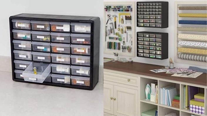 This set of drawers can hold all your supplies for beading, sewing, crafting, and more.